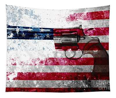 Colt Python 357 Mag On American Flag Tapestry