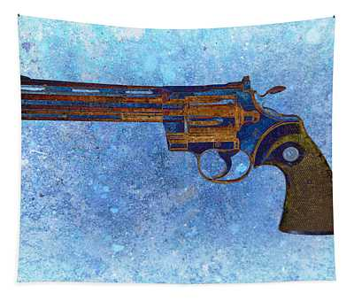 Colt Python 357 Mag On Blue Background. Tapestry