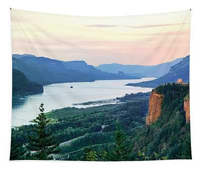 Columbia River With Vista House Tapestry