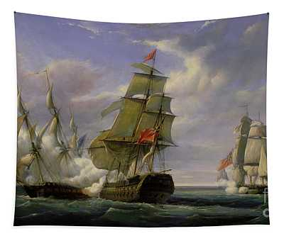 Combat Between The French Frigate La Canonniere And The English Vessel The Tremendous Tapestry