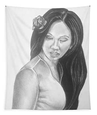 Long Hair Asian Lady With Rose In Sorrow Charcoal Drawing  Tapestry