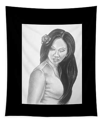 Female In Sorrow Charcoal Drawing  Tapestry