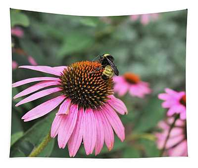 Coneflowers And Bee Tapestry