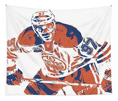 Connor Mcdavid Edmonton Oilers Pixel Art 1 Tapestry