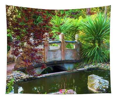 Contemplation Bridge At Chinese Pavilion Tapestry