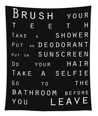 Contemporary Bathroom Rules - Subway Sign Tapestry