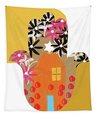 Contemporary Hamsa With House- Art By Linda Woods Tapestry