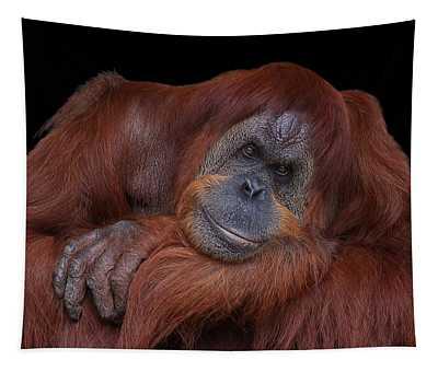 Contented Orangutan Tapestry