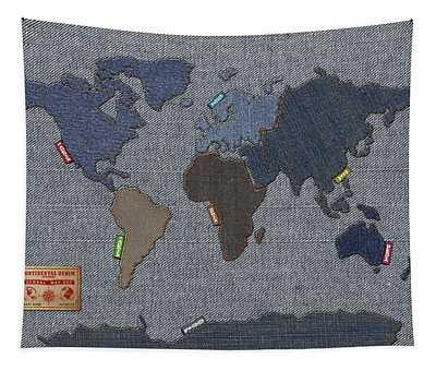 Continental Denim World Map Tapestry