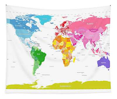 Continents World Map Large Text For Kids Tapestry