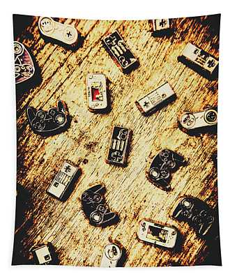 Controllers Of Retro Gaming Tapestry