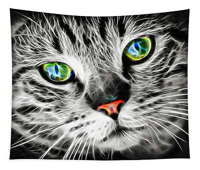 Cool Electric Glow Cat Tapestry