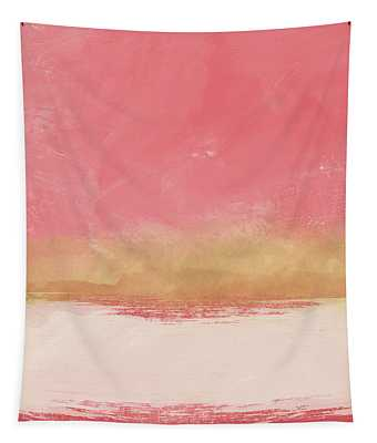 Coral And Gold Abstract 1- Art By Linda Woods Tapestry