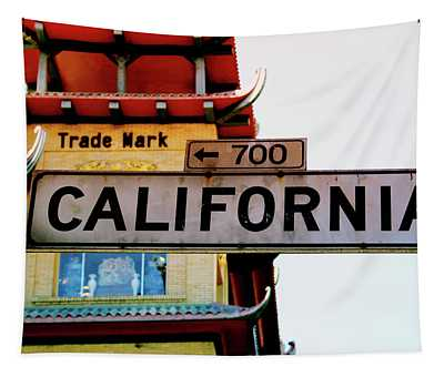 Corner Of California- Art By Linda Woods Tapestry
