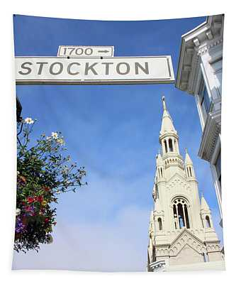 Corner Of Stockton-  By Linda Woods Tapestry