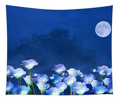 Cornflowers In The Moonlight Tapestry