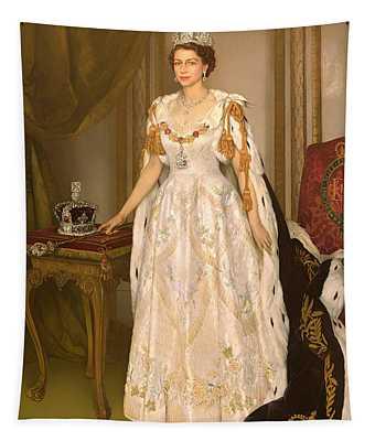 Coronation Portrait Of Queen Elizabeth II Of The United Kingdom Tapestry