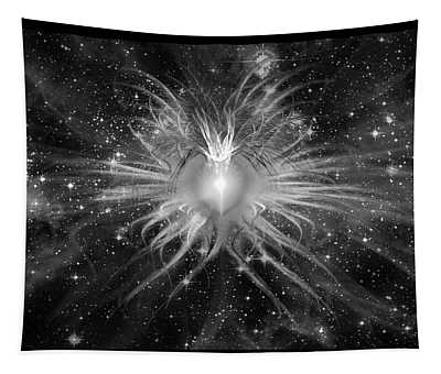 Tapestry featuring the digital art Cosmic Heart Of The Universe Bw by Shawn Dall