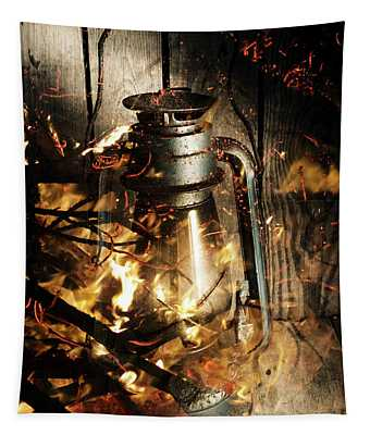 Cosy Open Fire. Cottage Artwork Tapestry
