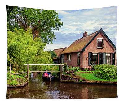 Cottage At Canal In Giethoorn Tapestry