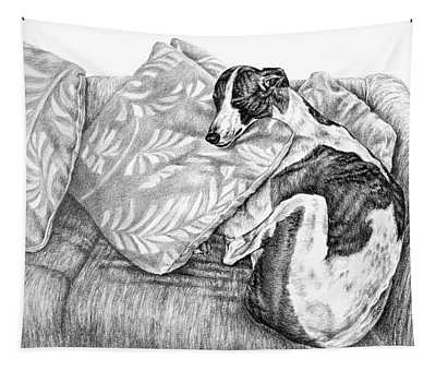 Couch Potato Greyhound Dog Print Tapestry