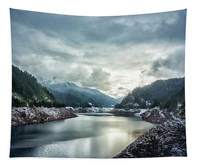 Cougar Reservoir On A Snowy Day Tapestry