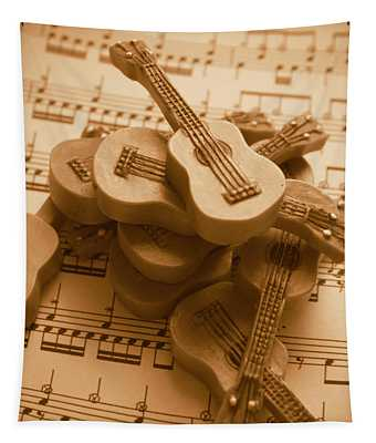 Country And Western Guitars. Music Education Tapestry