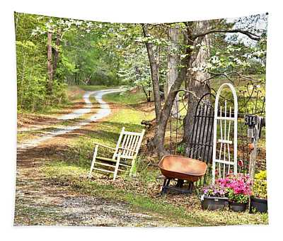 Country Driveway In Springtime Tapestry