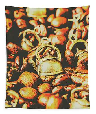 Country Pots And Coffee Beans Tapestry