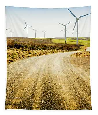 Country Roads And Scenic Windfarms Tapestry