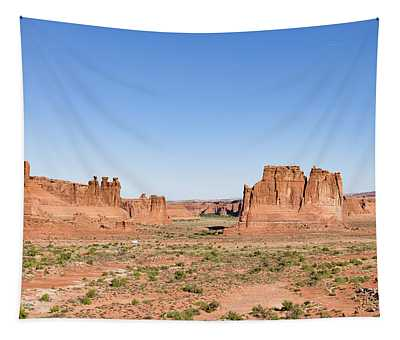 Tapestry featuring the photograph Courthouse Towers And The Three Gossips. by Jim Thompson