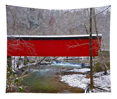 Covered Bridge Along The Wissahickon Creek Tapestry