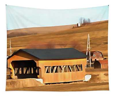Covered Bridge In Amish Country Ohio Tapestry