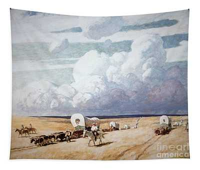 Covered Wagons Heading West Tapestry