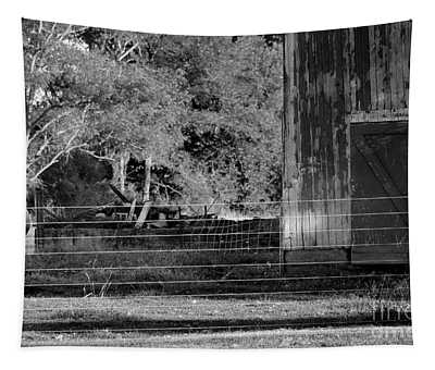 Cow And Barn Black And White Tapestry