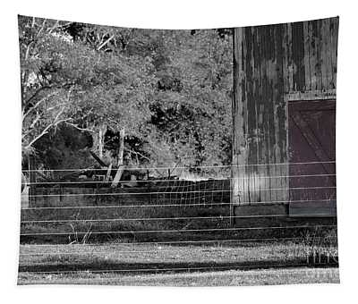 Cow Barn And Red Door Tapestry