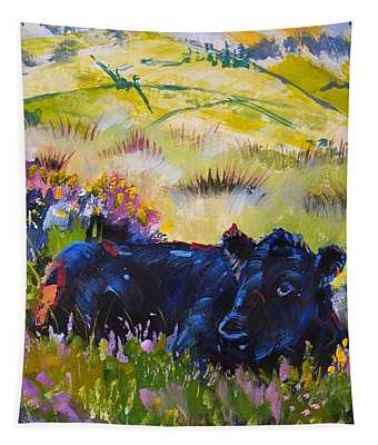 Cow Lying Down Among Plants Tapestry