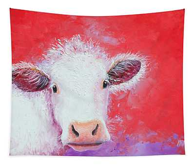 Cow Painting - Charolais Tapestry