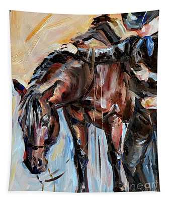 Cowboy With His Horse Tapestry