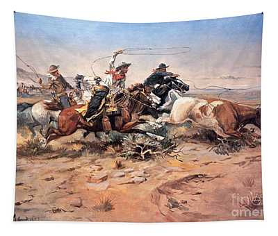 Cowboys Roping A Steer Tapestry