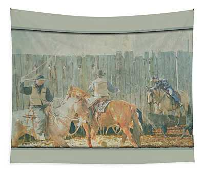 Cowboys Working The Spring Calves Tapestry