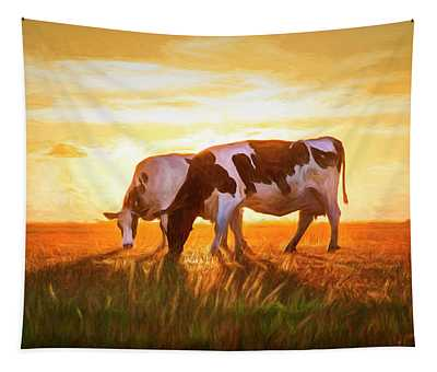 Cows In Sunset Light On The Farm Painting Tapestry