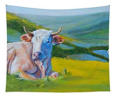 Cows Lying Down In Devon Hills Tapestry