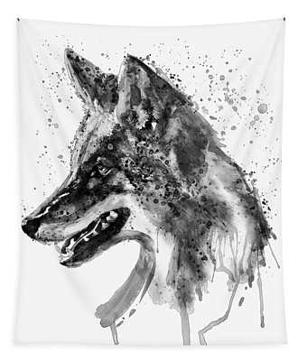 Coyote Head Black And White Tapestry