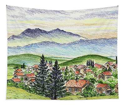 Cozy Little Village In The Mountains Tapestry