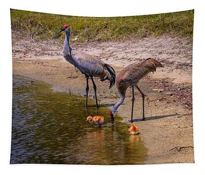 Cranes In The Lake Tapestry