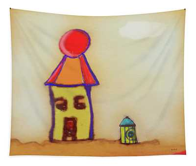 Cranky Clown Cabana And Fire Hydrant Tapestry