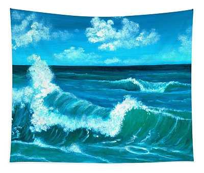 Tapestry featuring the painting Crashing Wave by Anastasiya Malakhova