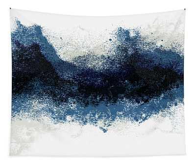 Crashing Waves- Minimal Art By Linda Woods Tapestry