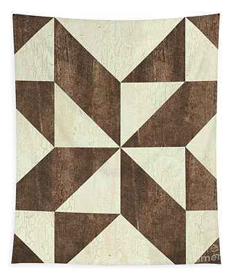 Cream And Brown Quilt Tapestry